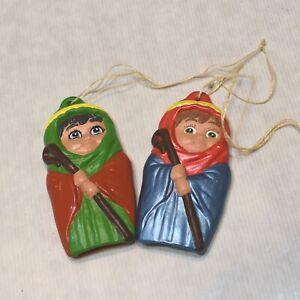 Vintage Hollow Ceramic Shepherd Christmas Ornaments Set of 2