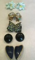 Set Of 5 Vintage Clip On Earrings Chunky Statement Jewellery