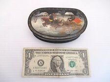 Signed Small Wooden Hand Painted Lacquer Trinket Jewelry Box Horses Sleigh Bear