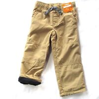 NEW Gymboree Boys Pants Gymster Fleece Lined Tan Khaki Blue Pull On 18 24 M 2T