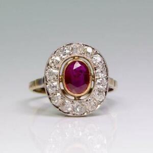 Estate 18K Gold Ruby (GIA Cert.) & Diamond Ring