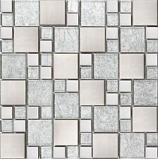 Silver Glass & Brushed Stainless Steel Mosaic Tiles Random Modular Sheet MT0048