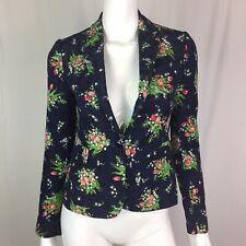 Zara Woman Small Navy Blue Knit Jacquard Floral Cropped 1 Button Blazer Jacket