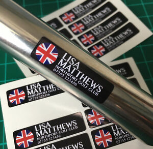 Personalised Golf Club Decal Labels 38x12mm Any Flag & Name - Any Flag & Colour