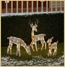 3-Pc Lighted Reindeer Family Sculpture Deer Buck Doe Outdoor Christmas Yard Set