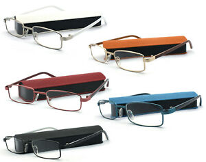 Reading Glasses Metal Frame Readers Simple Plain Fashion Classic Matching Case