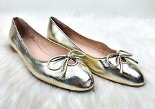 Stuart Weitzman Women's Metallic Gold Bow Detail Classic Ballet Flats Size 7