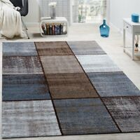 Designer Blue Grey Brown Rug Squares Modern Pattern Dark Cream Small X Large XL
