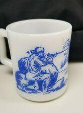 Vintage Mid-Century Davy Crockett Child's Mug, Blue Decal, Milk Glass, Frontier