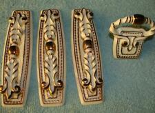 Vintage French Provencial White & Bronze Drawer Pulls Set 4