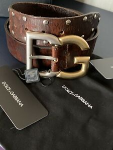 D&G Dolce & Gabbana Leather Gold/Silver Tone Studs Belt with Buckle BNWT