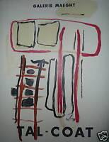 Tal-Coat Pierre Affiche Lithographie art abstrait abstraction exposition Paris