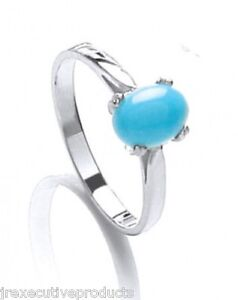 Turquoise Ring Sterling Silver Turquoise Solitaire Ring