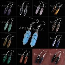 Natural Quartz Crystal Wire Wrapped Hexagon Prism Stone Chakra Dangle Earrings