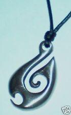 Maori Spear Pewter Metal Pendant on Black Cord Necklace