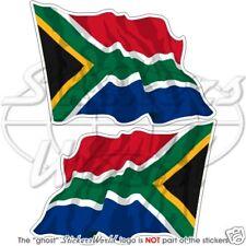 SÜD AFRIKA Wehende Flagge Fahne SÜD AFRIKANISCHE Vinyl Sticker Aufkleber x2