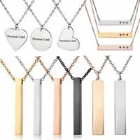 DIY Personalized Custom Engraved Name Letters Stainless Steel Necklace Pendant