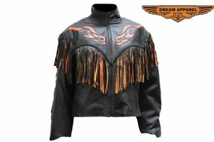 Women's Motorcycle Braided Jacket with Flames, Fringe & Zippered Front Closure