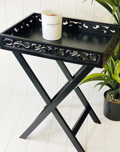 Portable FiligreTable Side Folding Black Square Wooden Bedside Coffee Table Tray