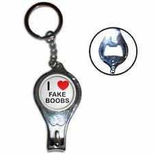 I Love Heart Fake Boobs - Nail Clipper Bottle Opener Metal Key Ring New