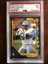 1991 Wild Card #89 Barry Sanders 100 Stripe PSA 7 NM Detroit Lions 1 higher