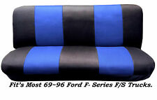 Black/Blue Full Size Bench Seat Cover Fits Most 69-96 Ford F-Series F/S Trucks