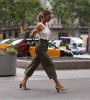 Karen Millen Khaki High Tie Waist Crop Safari Light Summer Trousers 6 8 10 12 14