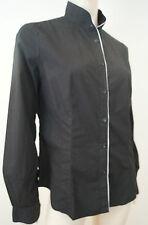 EMPORIO ARMANI Women's Black 100% Cotton White Trim Funnel Neck Blouse Shirt 48