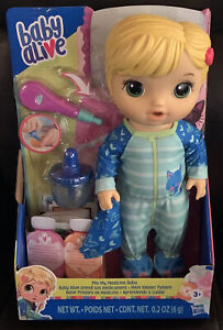 Baby Alive Mix My Medicine Baby Doll Kitty-Cat Pajamas Drinks and Wets NEW