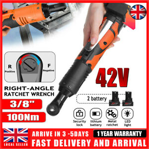 42V 3/8'' 100Nm Electric Cordless Ratchet Right Angle Wrench LED + 2 Battery NEW