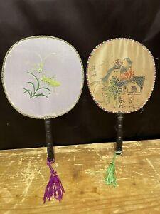 Vintage Paddle Fans Silk Wood Tassel Chinese Japanese Grasshopper Geisha