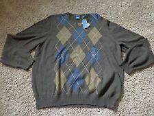 ARROW men's NWT sz XXL browns/blue geometric pattern cotton sweater