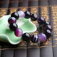 Fashion 12mm Natural Purple Stripe Agate Round Gemstone Beads Stretchy Bracelet