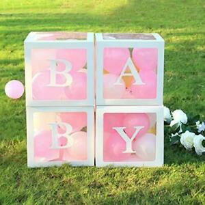 Bellac Blocks for Baby Shower - Set of 4 - Clear Baby Block Boxes with Baby Lett