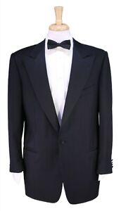 Ermenegildo Zegna Solid Black 1-Btn Peak Lapel Tuxedo Dinner Wool Suit 44R