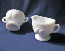 WESTMORELAND Milk Glass CREAM AND SUGAR Small Individual Size EMBOSSED FRUIT