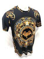Mens PRESTIGIOUS SHORT Sleeve BLACK GOLD LION CUP SILKY Shirt GOLD LEAF 103 NEW