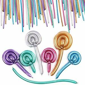 100x Metallic Animal Flower Party Twist Latex Tying Magic Long Strip Balloons QC