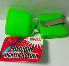 RETRACTABLE silicone lighter holder (GREEN)