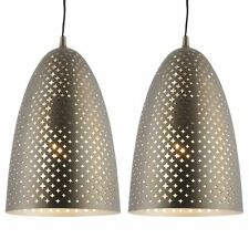 Pair of Modern Aged Nickel Patterned Ceiling Light Pendant Fitting Kitchen Diner