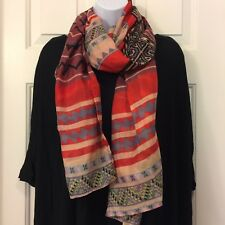 """Red Patterned Scarf 64"""" X 30"""" Shawl Wrap Fashion Scarves Women Voile Black Blue"""