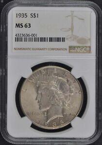1935 Peace Dollar S$1 NGC MS63