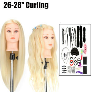 Neverland 26-28'' Real Hair Mannequin Doll Training Head With Clamp+Braid Set UK