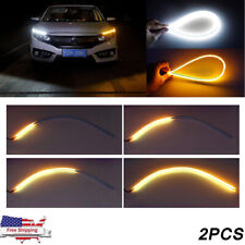 Sequential 60cm LED Headlight Slim Strip Lights DRL Running Flow Turn Signal 2Pc