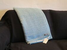 100% Cashmere 4 Ply Throw/Blanket Hand Loomed Nepal 2 Color Turquoise/Snow