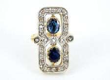 Genuine Antique Victorian 18k 2.20 Carat Natural Sapphire Diamond Ring Size 4