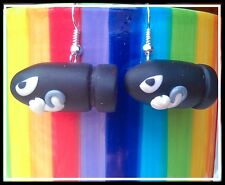 **~ Bullet Bill Earrings ~ Super Mario World ~ handmade fimo ~**