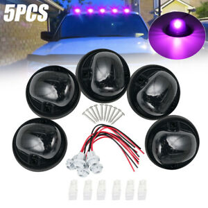 5x Cab Roof Top Marker Running Light + 6x Purple T10 LED Kit for Chevy GMC Truck
