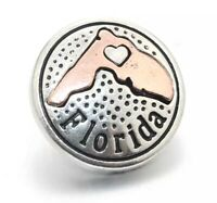 Florida Silver & Copper State Shape Snap Charm Piece - Fits Magnolia, Ginger