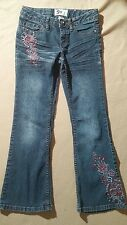 SO Adorable Blue Denim Jean Pants Girl's Size 10 Stretch Embroidered Pockets 126